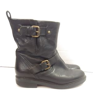 J Crew black pull on short moto boots with buckle